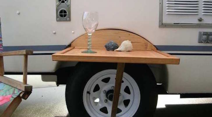DIY Outdoor Table Fits Between Wheel Well And Tire On Casita Trailer