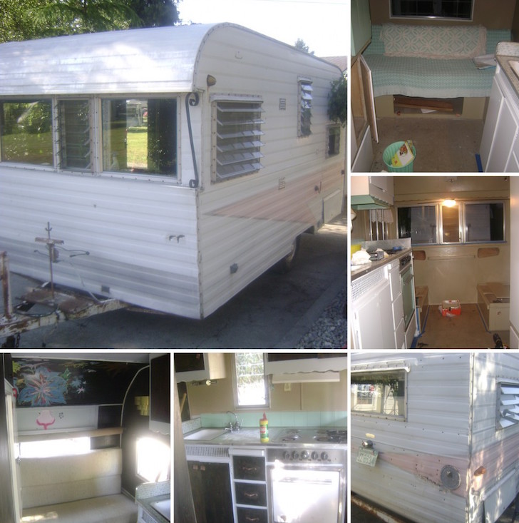 Vintage trailer before renovation
