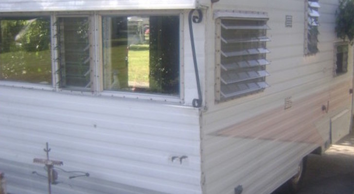 Vintage trailer before restoration