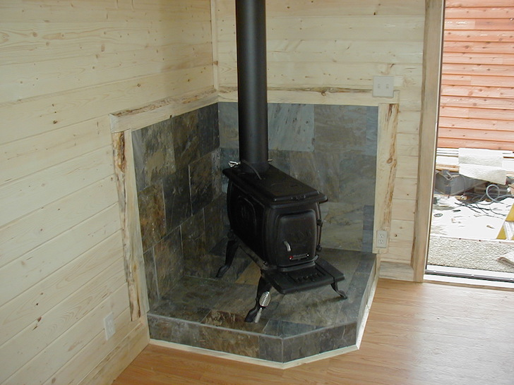 Wood stove in trailer home