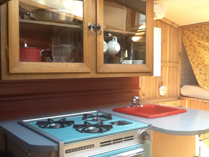 Wooden cabinets in the mini RV