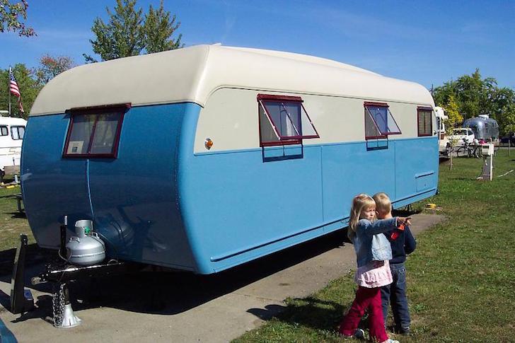 Blue vintage trailer