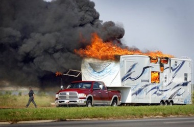 Inferno toy hauler catches on fire
