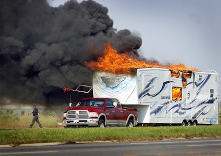 Fifth Wheel Toy Hauler Model Called The Inferno Catches Fire And Burns on K Z Rv Floor Plans