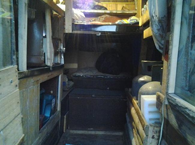 Inside Muhammad's camper