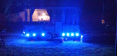 LED spot lights on a pop up trailer