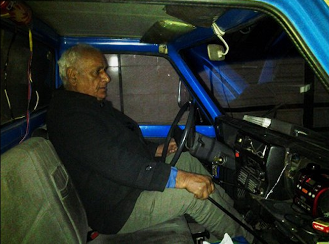 Muhammad in his driver's seat
