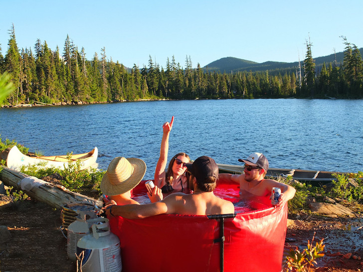 People sitting in hot tub