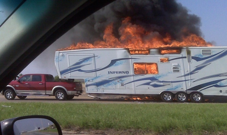 Photo of burning toy hauler