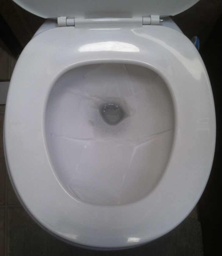 RV toilet before flushing