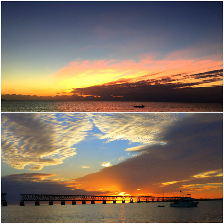 Sunrise and sunset in the Florida Keys