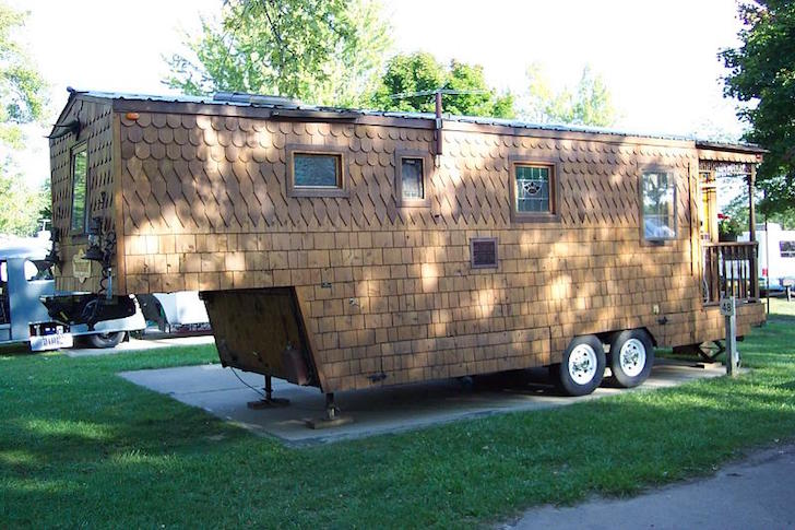 Wood shingled fifth wheel trailer