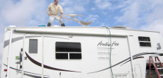 Washing RV roof