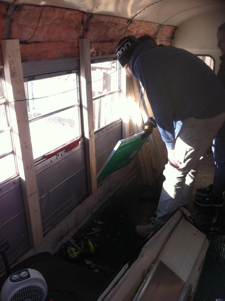 Adding insulation to skoolie