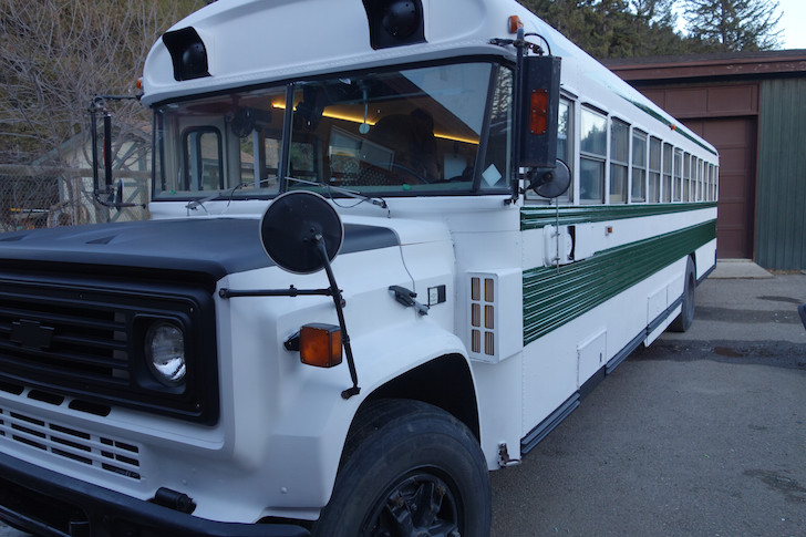 Bus completely painted