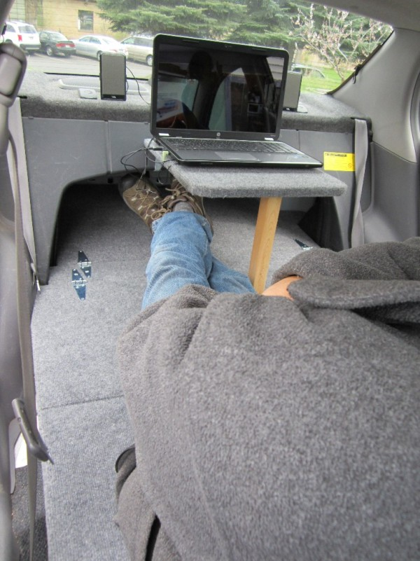 DIY table in car camper