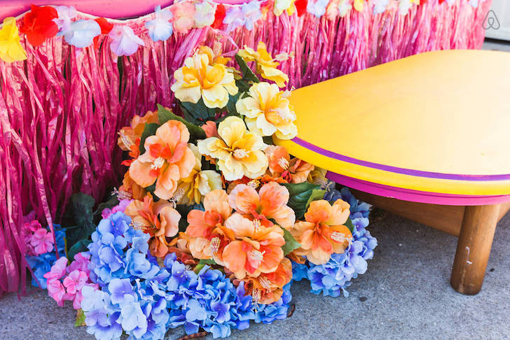 Flowers in vintage trailer