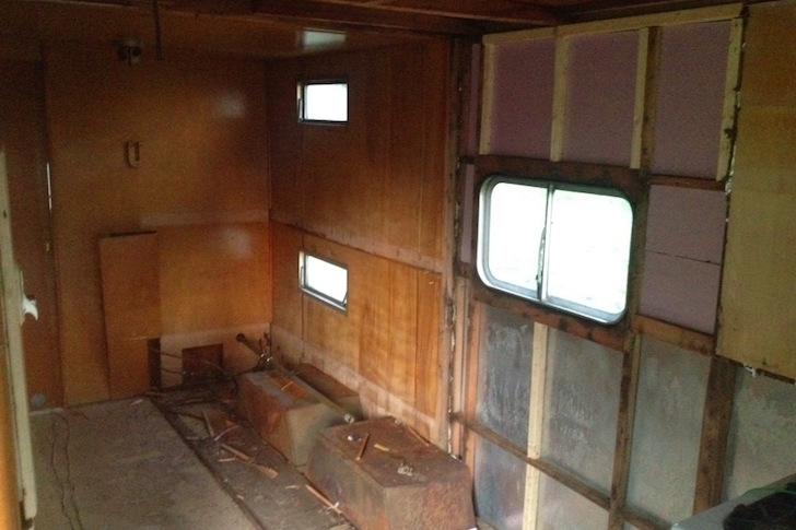 Gutted vintage trailer