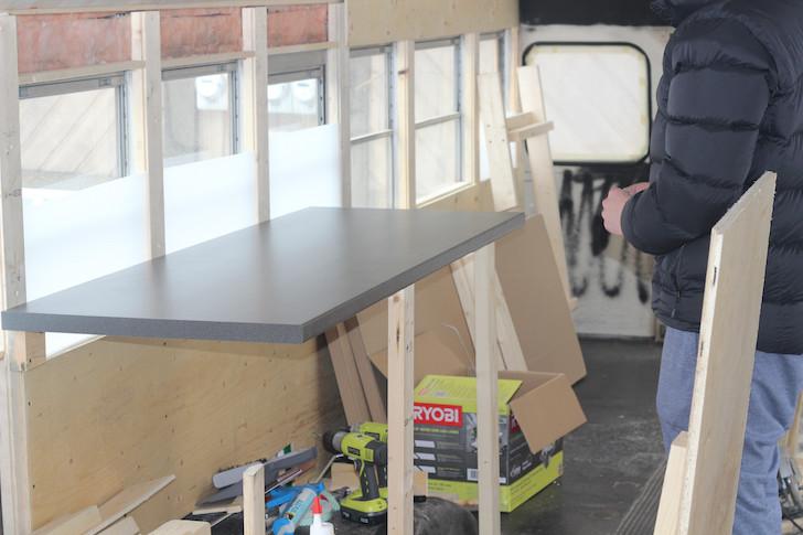 IKEA desk top in skoolie conversion