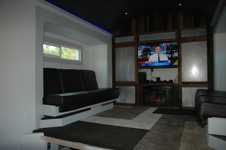 Inside tiny house with slide outs