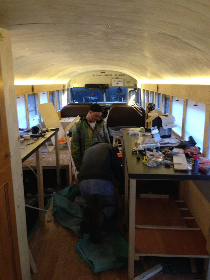 Installing shelving in a skoolie