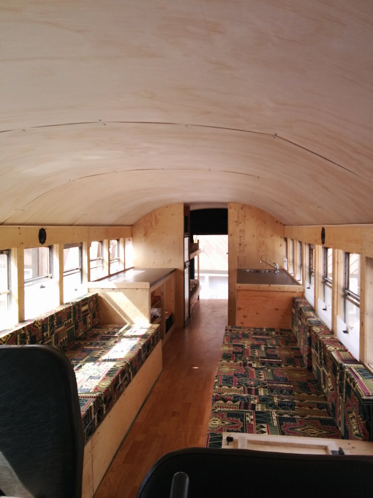 Interior of school bus conversion