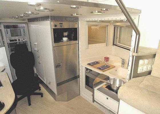 Kitchen in MaxiMog trailer