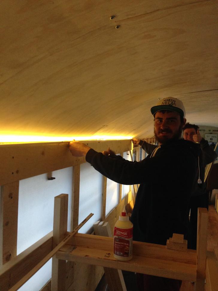 LED lights in skoolie
