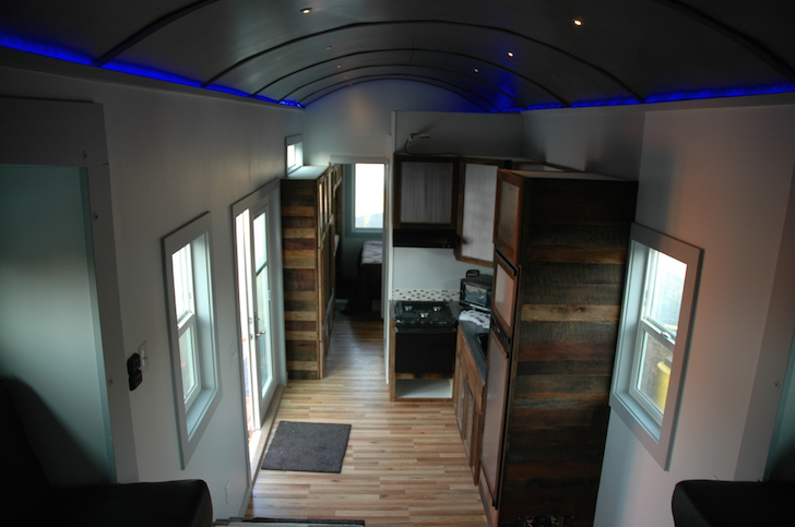 Looking down from loft