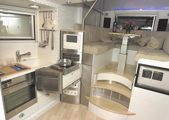 Luxurious interior of MaxiMog trailer