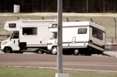 Crazy Britons Race Motorhomes Around A Dirt Track