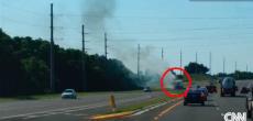 Motorhome tire blowout fire