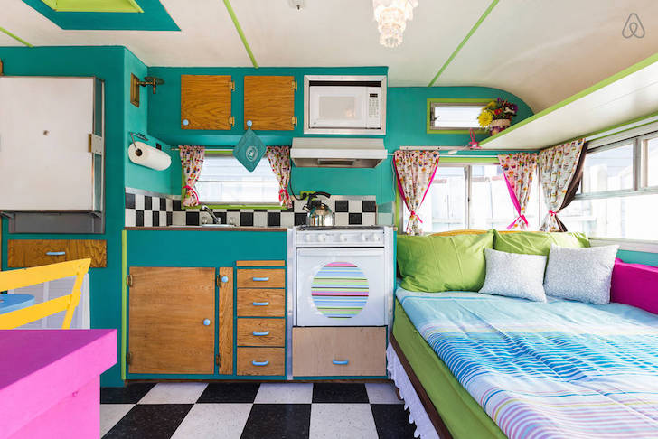 Multi-colored camper interior