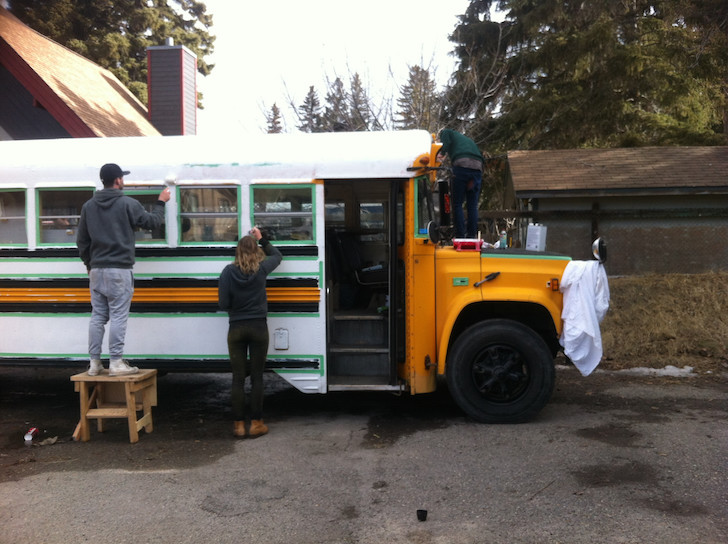 Painting a school bus