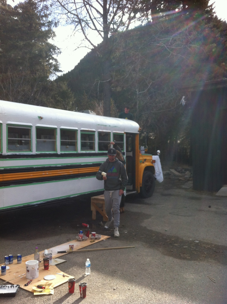 Painting the bus green and white
