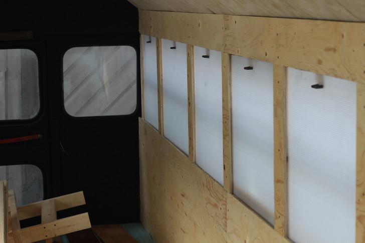 Plastic shutters over windows