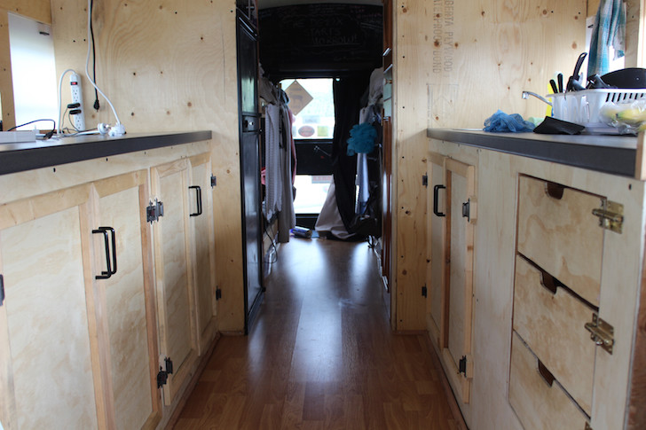 RV kitchen cupboards and drawers