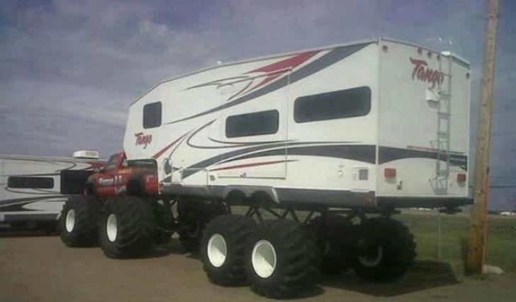 Rear of monster truck RV