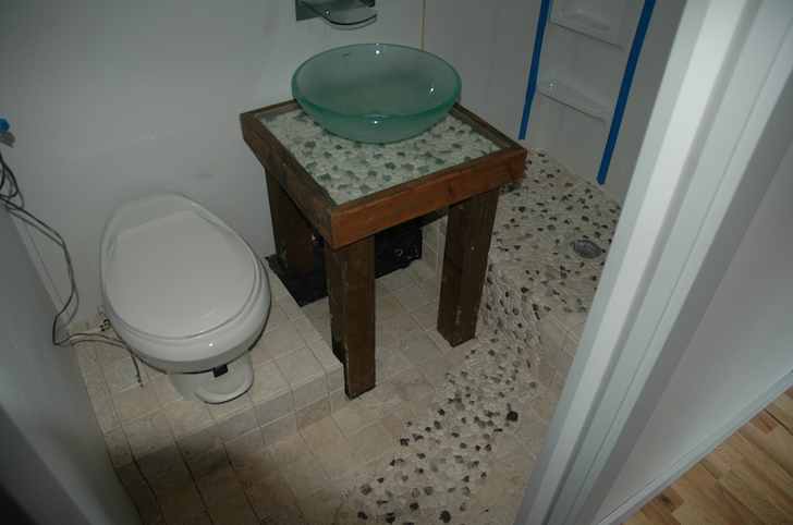Slideout tiny house bathroom