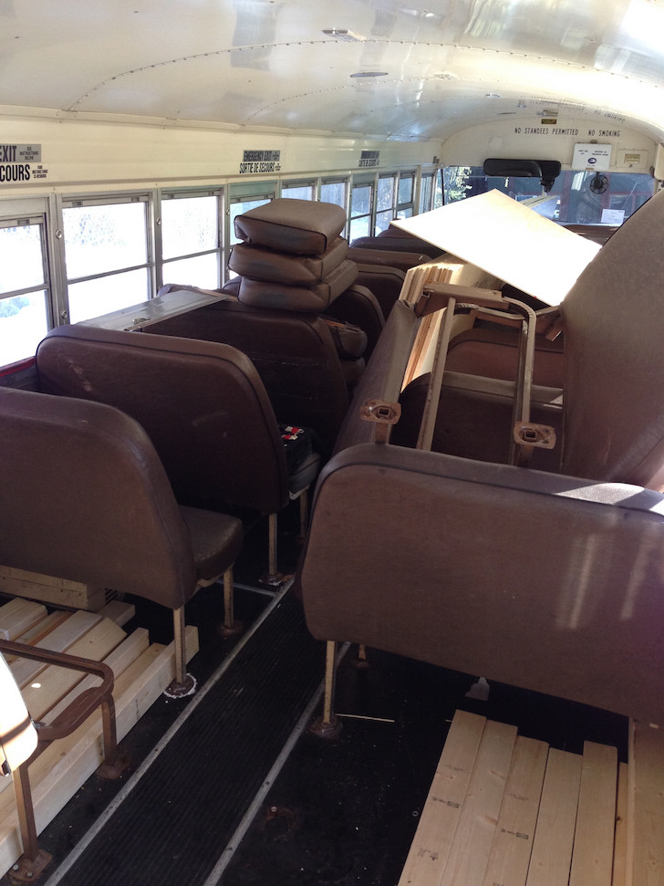 Supplies in the school bus