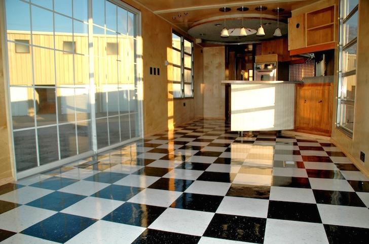 Tile floor in vintage trailer