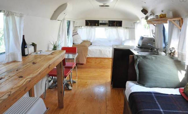 Toward the front of vintage Airstream