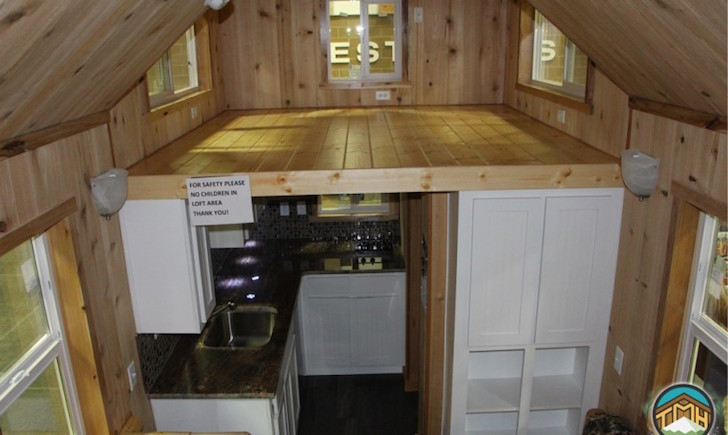 Wide angle view of tiny house