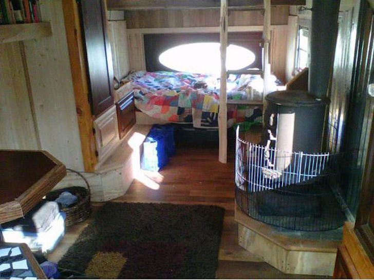 Wood burning stove in bus conversion
