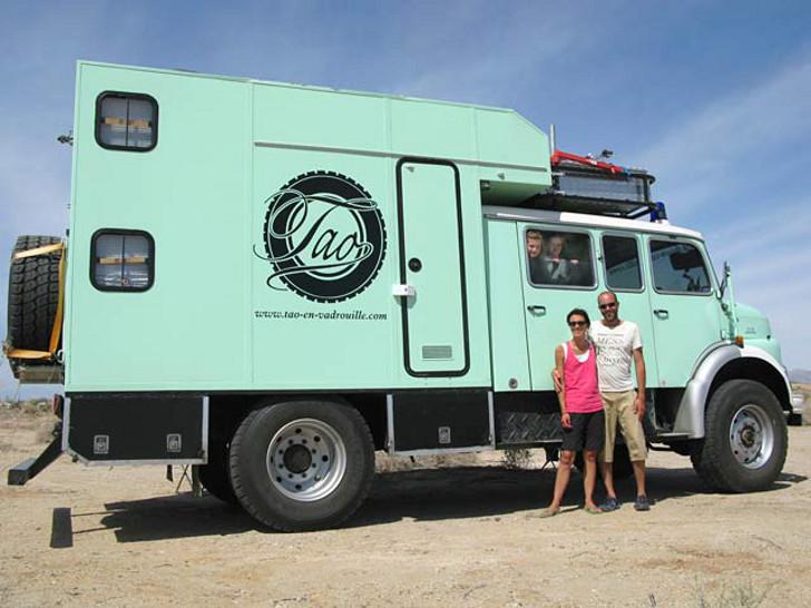 Mercedes fire truck overland camper