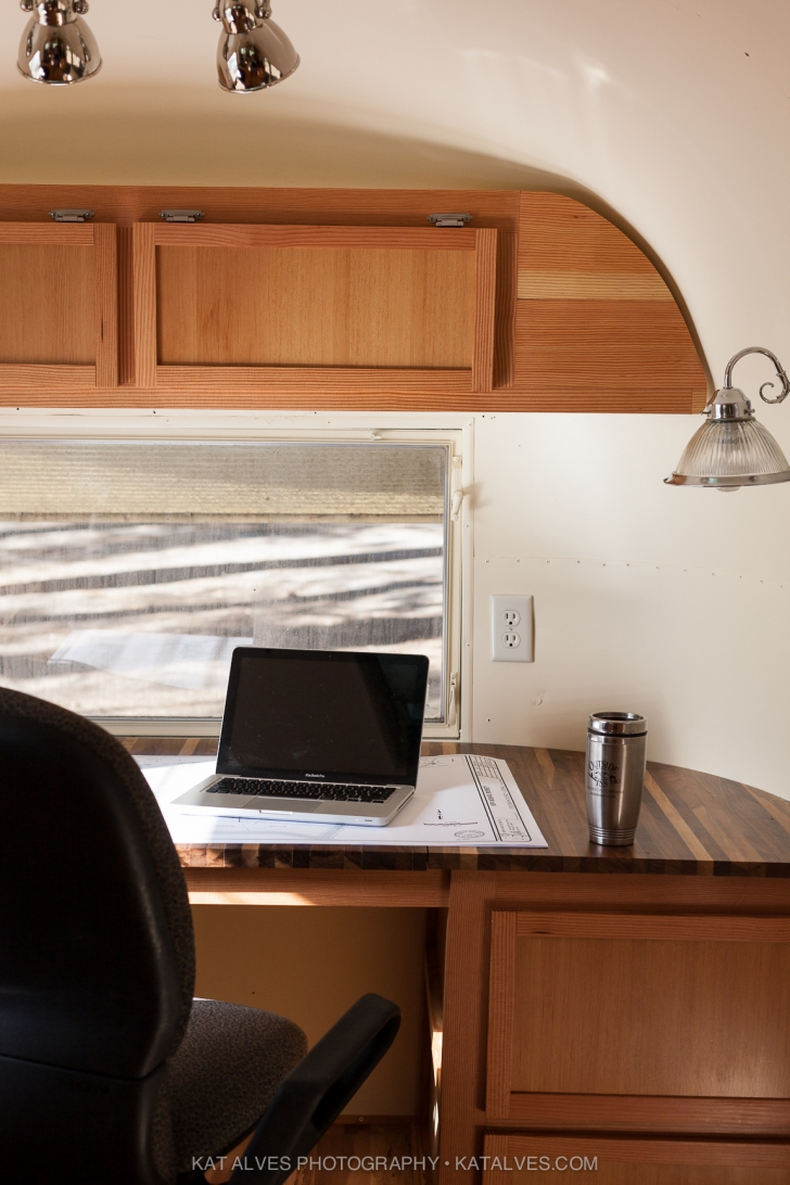 Built in desk in Airstream