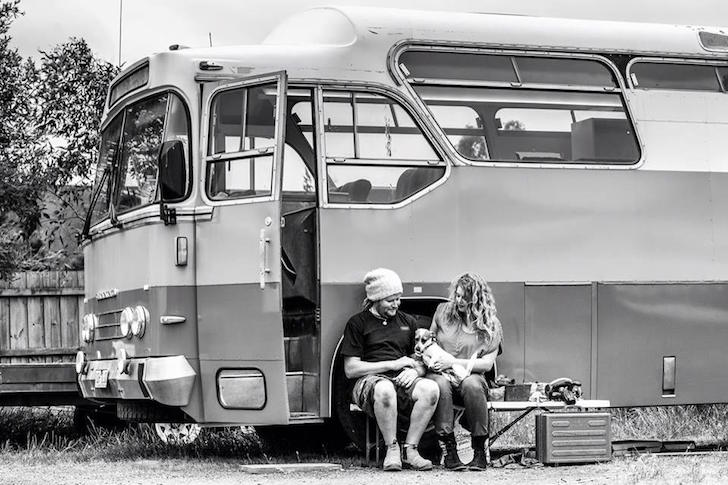 Alyce and Paul next to their bus