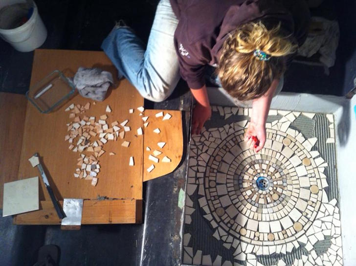 Alyce installing mosaic tile