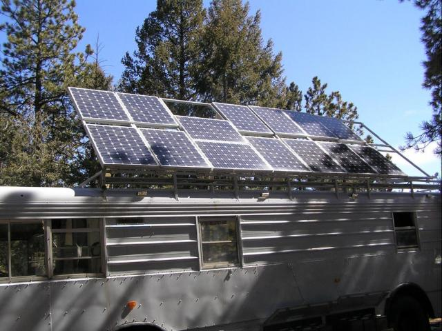 Close-up of solar panels on bus