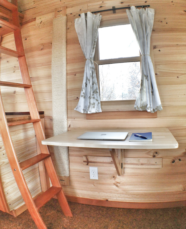 Computer hutch in tiny home